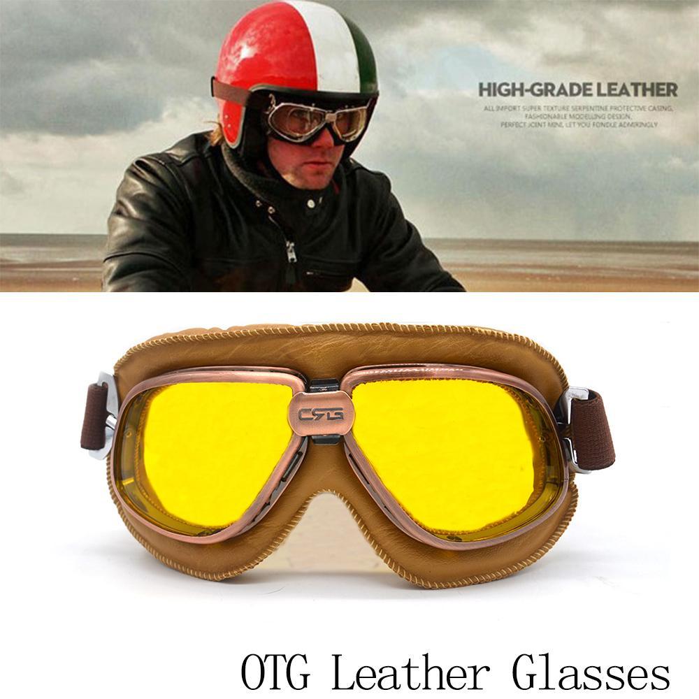 c4d35aa172d35 Compre Motocicleta Óculos De Moto Retro Estilo Piloto Aviador Piloto Do Vintage  Óculos Steampunk Máscara Facial Harley Meia Aberta Capacete Amarelo De ...