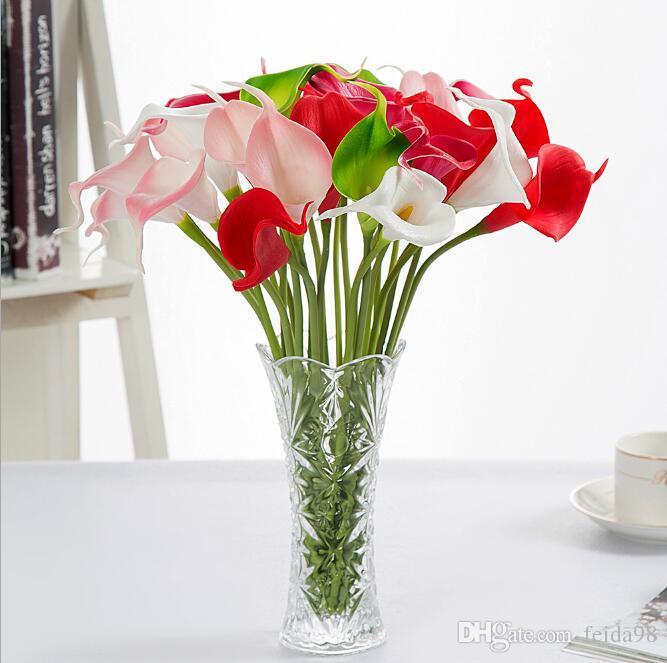 Venta caliente Calla Lily Boda Nupcial Bouquet cabeza Látex Real Touch Artificial Flor GA52