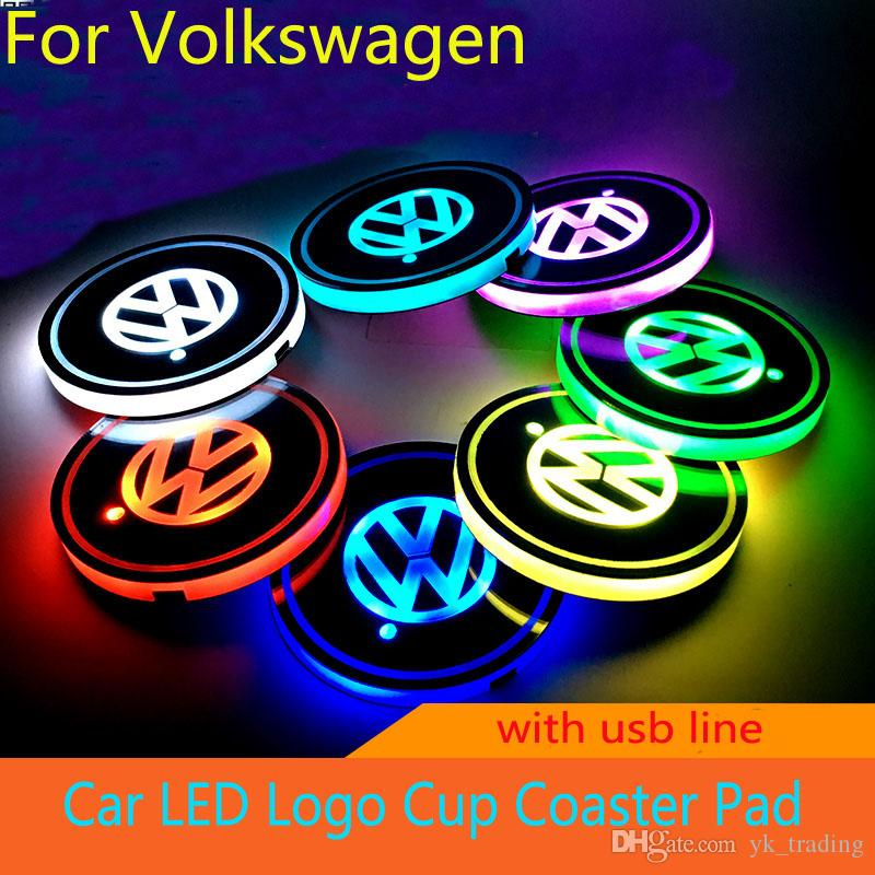 Car Volkswagen VW R logo light Golf GTI Scirocco B6 Touran Tiguan MK POLO Car Led Shiny Water Cup Mat Luminous Coaster Atmosphere Light