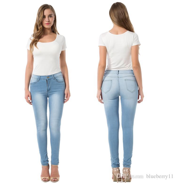 Compre Moda Sexy Skinny Jeans Mujer High Waiste Stretch Slim Fit Pantalones  De Mezclilla Denim Straight Skinny Jeans Light Blue S 3XL A  32.17 Del ... b9f8d524a6f6
