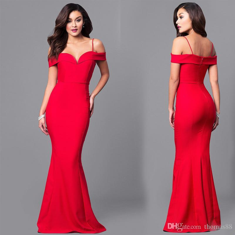 7b74fe3912 Wholesale Women Off Shoulder Sexy Red Bodycon Slim Long Maxi Mermaid Evening  Party Dress Ladies Black Dress Summer Lace Dresses From Thomas88, ...