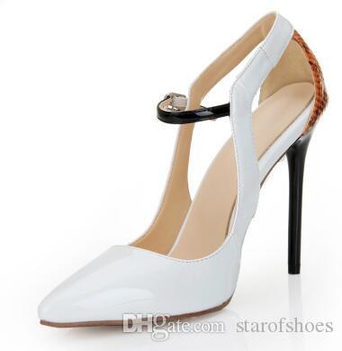 2018 estate cinturino alla caviglia fibbia donne pompe tacchi a spillo donne festa di nozze scarpe sexy scarpe a punta tacchi alti scarpe