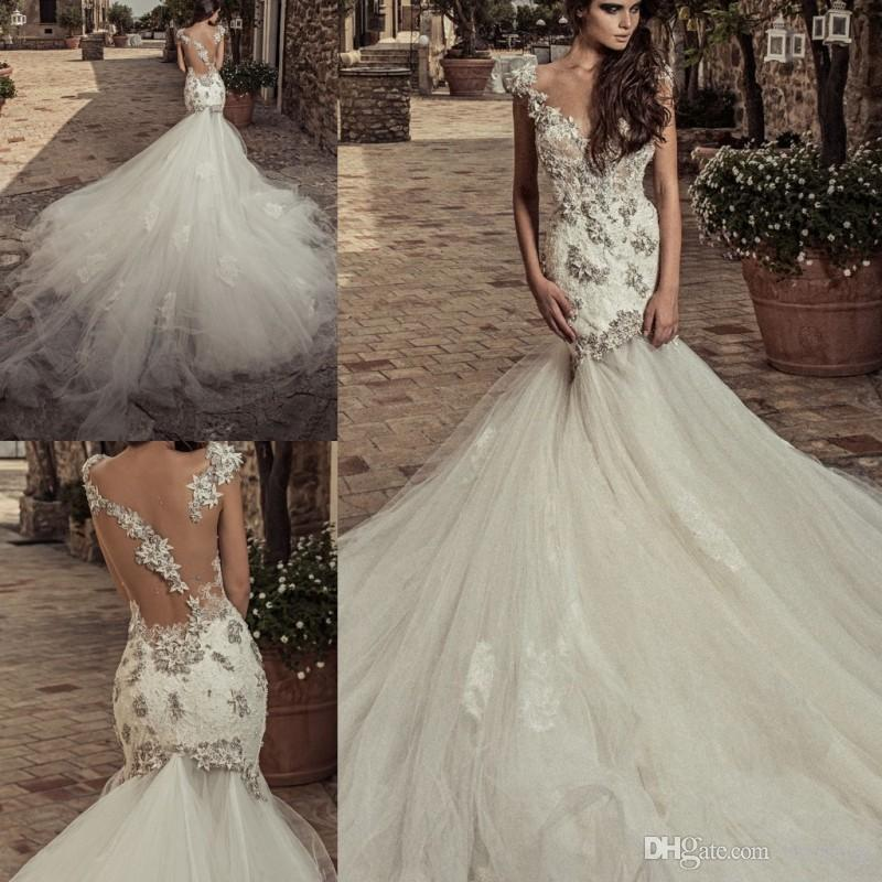 27adccaef7c7b 2018 Corona Borealis Vintage Lace Wedding Dresses V Neck Sheer Back Mermaid Bridal  Gowns Sweep Train Crystal Wedding Dress Sexy Wedding Dresses Wedding Gown  ...