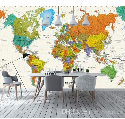 3d Colorful World Map Wallpaper Mural For Child Office Room Tv