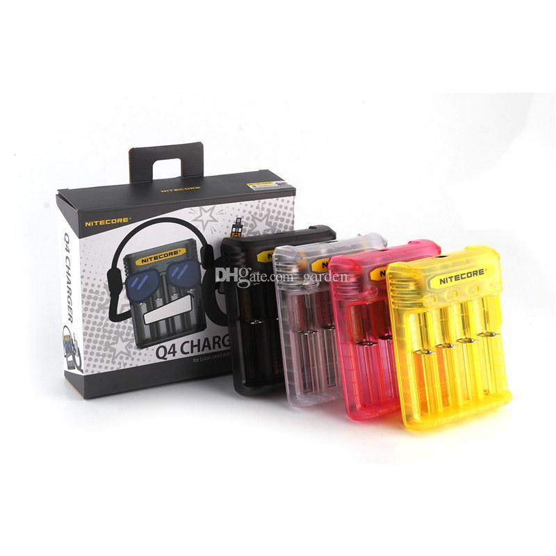 Оригинал Nitecore Q4 4-Slot 2A Быстрое Зарядное Устройство Intellicharger Универсальные Зарядные Устройства Cig Для 18650 26650 20700 IMR Литий-Ионный Аккумулятор 100% Подлинный