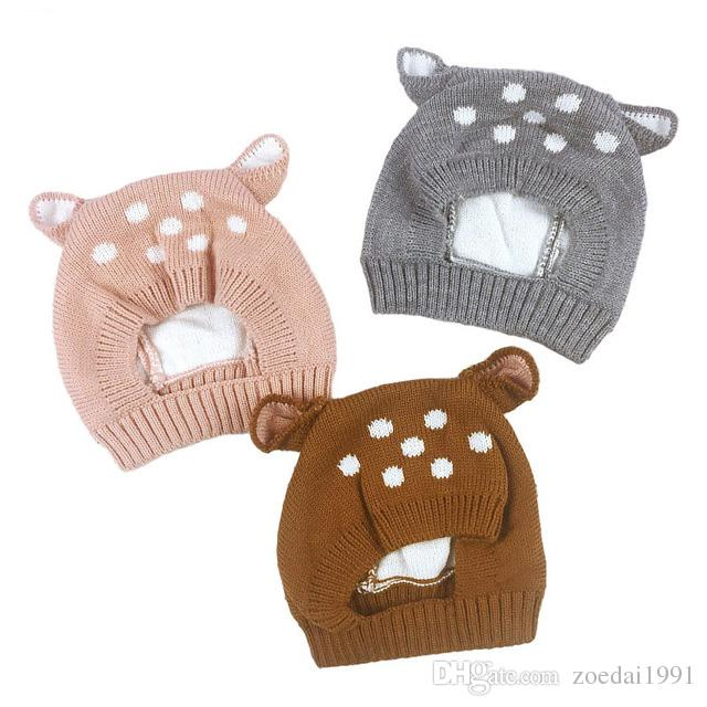 7db8433f138 2019 New Deer Baby Hat With Ears Cartoon Winter Baby Bonnet Knit Elastic  Kids Hats Infant Cap Christmas For 6 24 Months From Zoedai1991
