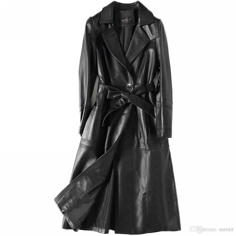 best service e51c4 50996 Giubbotto in vera pelle di montone donna X-Long Giacca di alta qualità con  cintura in vita F492 Trench coat in pelle nera elegante