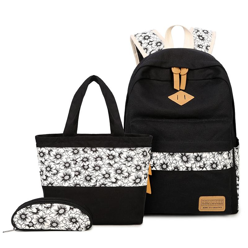 9c6de3574ed8 Black And White Vintage Sunflower Canvas Backpack Girl Schoolbag Kids Shoe  Bag Set School Bags For Girls Cute Pencil Pouch School Bags For Teens  Backpack ...
