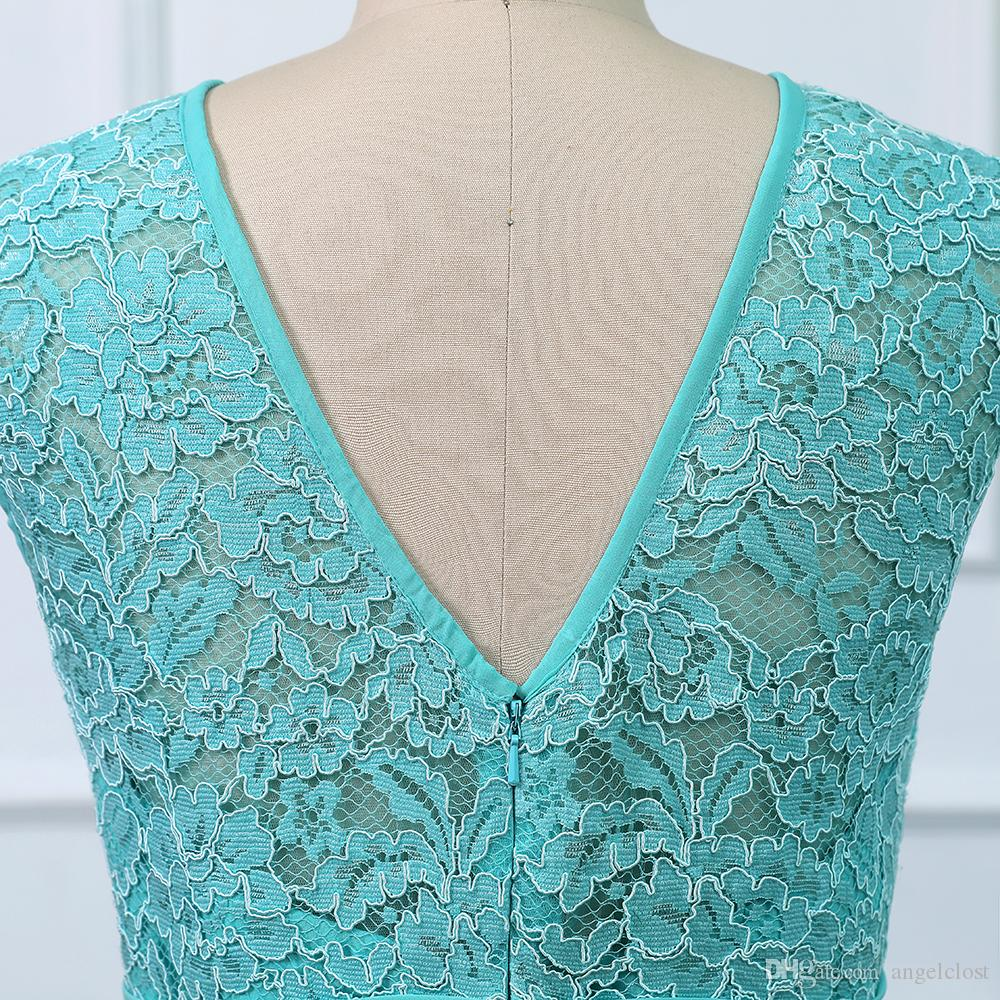 2019 Turquoise Bridesmaid Dresses A Line Jewel Sweep Train Pleats Lace Top Chiffon Beach Country Wedding Guest Maid Of Honor Party Gowns