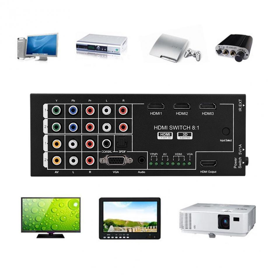 Freeshipping 8 In 1 Out 1080P 3D Audio Video HDMI Switch Switcher Converter with IR Remote for HDTV DVD Projector