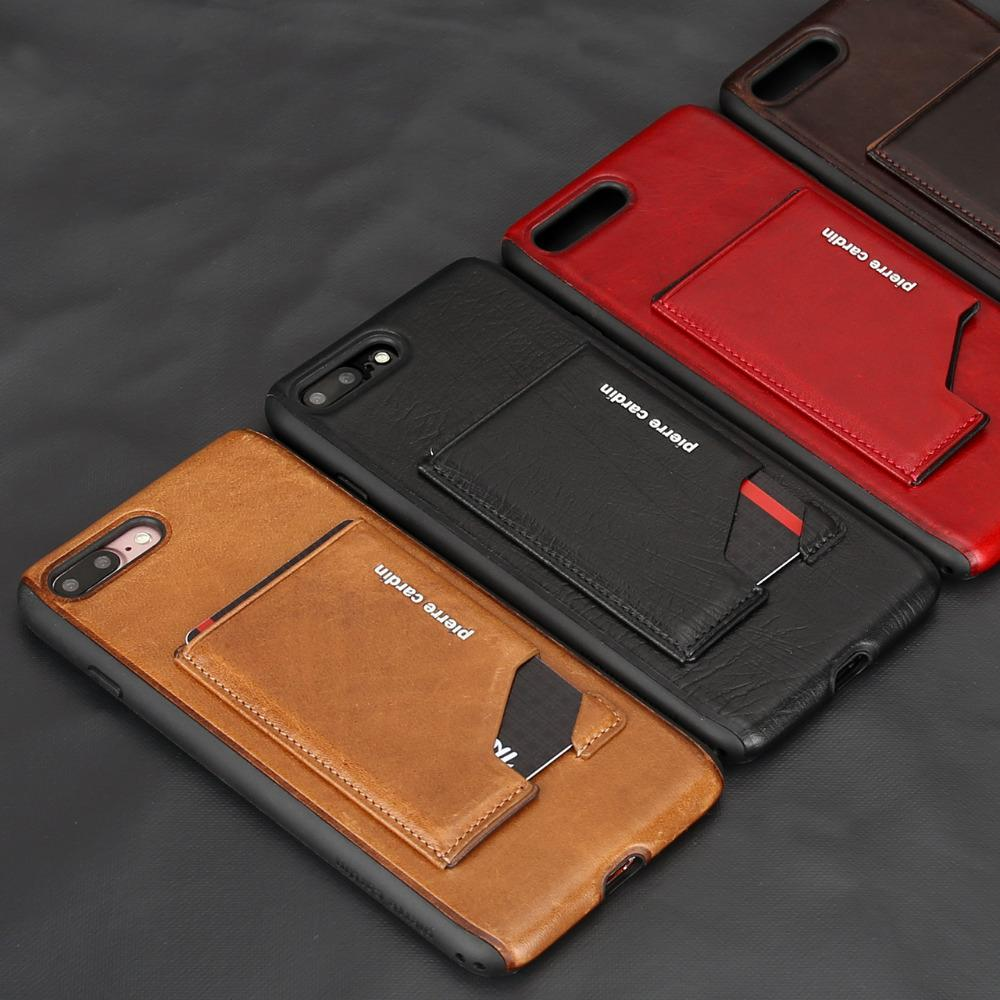 finest selection 72be4 6dba2 Pierre Cardin Genuine Leather Case Slim Card Holder Stand Flip Leather Sofe  Back Cover Case For Apple Iphone 8 /8 Plus Phone Case