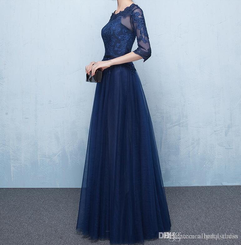 Elegante blu navy madre della sposa abiti mezze maniche pura con applicazioni Lace-up abiti da damigella d'onore pavimento lunghezza abiti della madre economici