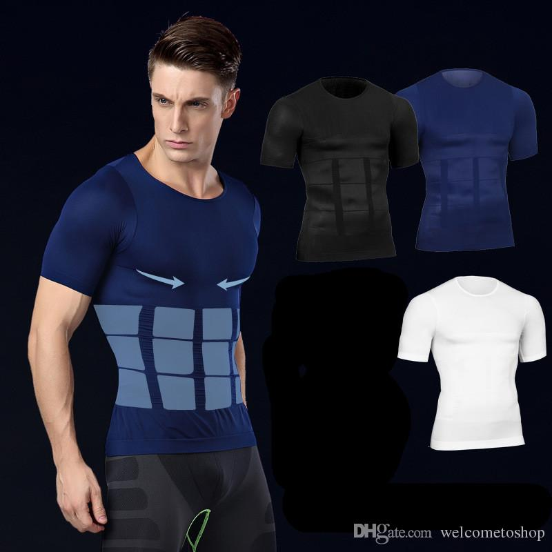 6c5d547dc 2019 Men S Body Shapers Fitness Tops Short Sleeve Elastic Beauty Slim Abdomen  Tight Fitting Shirts Shaper Slimming Underwear From Topfashion88