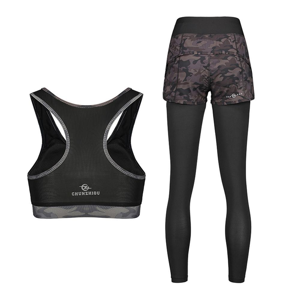 69a6b9ef1ac Women's Fitness Suits Crop Tank Camouflage Top Legging Pants 2 Pieces Set Workout  Gym Tracksuit Sport Bra Long Leggings Pants