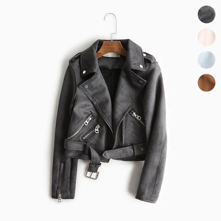 eaff5e695 Leather Suede Jackets Women Faux Leather Jacket for Women s Moto Outerwear  Jacket Belt/stud Jaqueta Couro Biker leren jas Coats