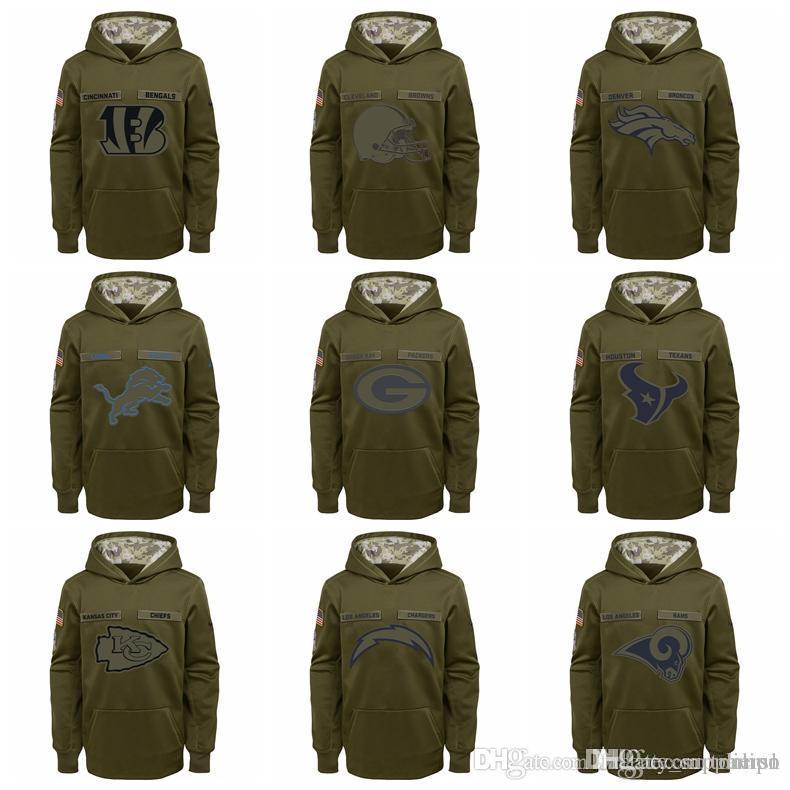 2019 YOUTH Bengals Cleveland Browns Dallas Cowboys Denver Broncos Lions  Green Bay Packers Salute To Service Sideline Performance Pullover Hoodie  From ... ec82025a8