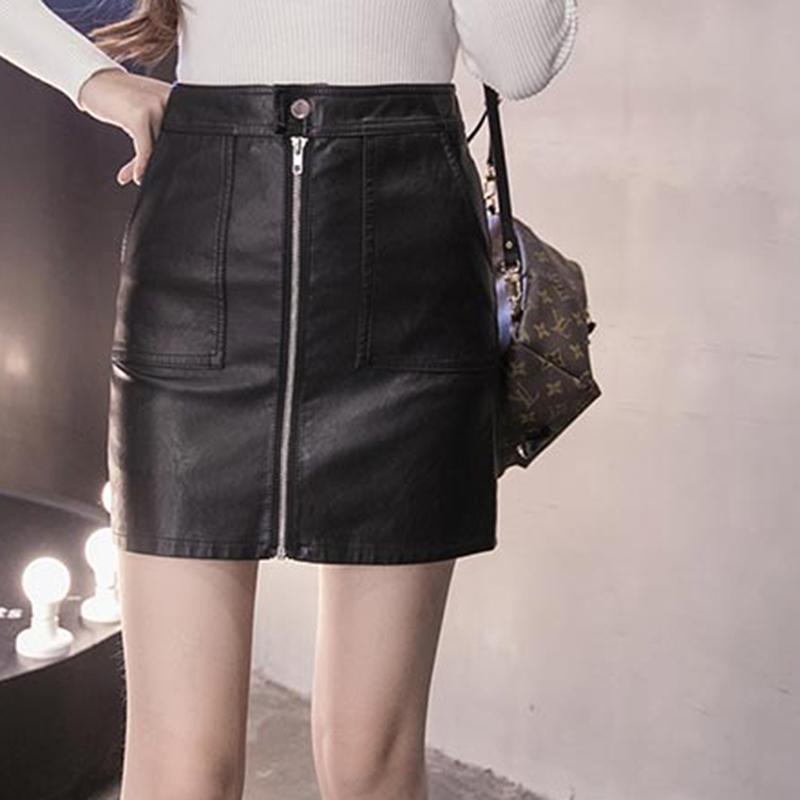 ef2ed75bc 2019 Estilo coreano Moda PU Falda de cuero Elegante Negro Sólido Cremallera  frontal Sexy Falda Mujeres Lápiz Mini Falda Tallas grandes
