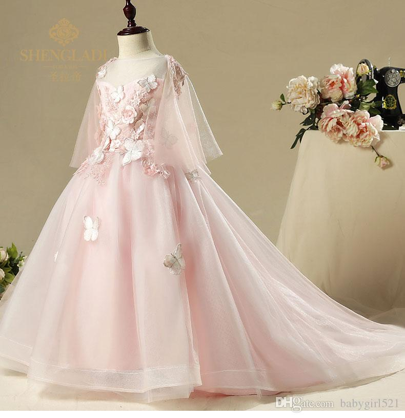 Fairy Pinkblue Flower Girl Dresses Elegant Embroidery Butterfly