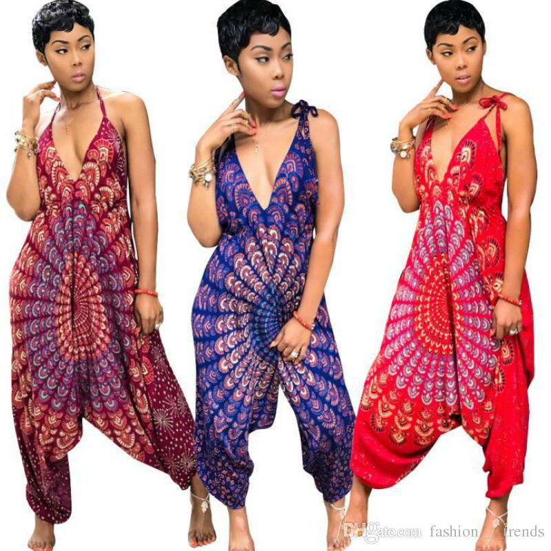 78ac94df3be9 2019 Dashiki African Ethnic Sexy Rompers Womens Jumpsuit Summer Overalls  2018 Casual Loose Backless One Pieece Harem Jumpsuit Large Size Dress From  ...