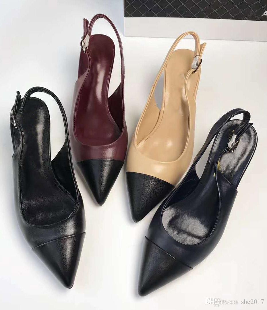 61191ab1 Compre 2018 Nueva Moda De Cuero Genuino Zapatos De Mujer Mujer Tacón Bajo  Zapatos Casuales De Moda Femenina Sandalias De Punta Estrecha A $80.91 Del  She2017 ...
