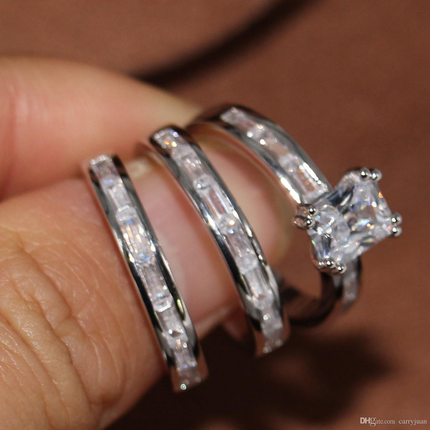 Victoria Wieck El Yapımı Moda Takı 10KT Beyaz Altın Dolgulu Prenses Kesim Beyaz Topaz CZ Kristal Elmas Kadınlar Düğün 3 IN 1 Band Yüzük
