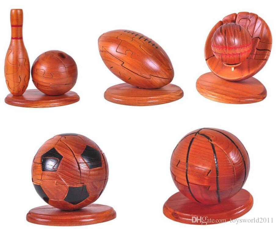 Großhandel Wooden Intelligence Toys Rugby Bowling Baseball Stunning Wooden Baseball Game Toy