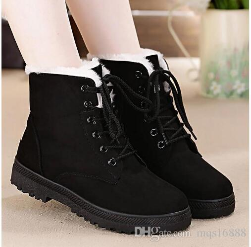 8d8127cf052 2019 Snow Boots 2018 Classic Heels Suede Women Winter Boots Warm Fur Plush  Insole Ankle Boots Women Shoes Hot Lace Up Shoes Woman From Mqs16888
