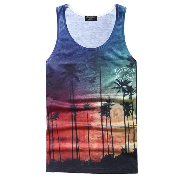 Cenário impresso dos homens colete casual camiseta sem mangas verão confortável top de praia homens tops de algodão 2017 verão novo