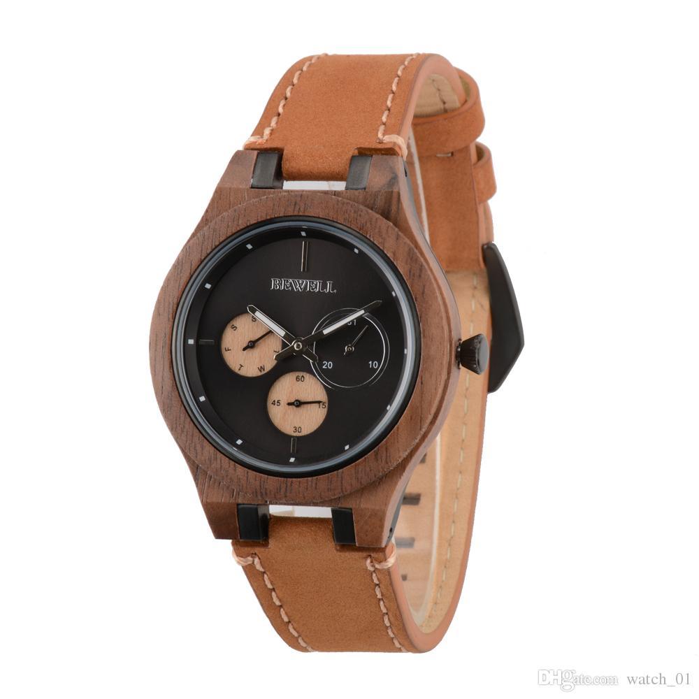 f551f8ac058 Compre Bewell Todas As Cores De Madeira Relógios Marcas Wathces Laranja  Para Homens Com Analógico Relógio De Pulso De Quartzo Menina De Watch 01