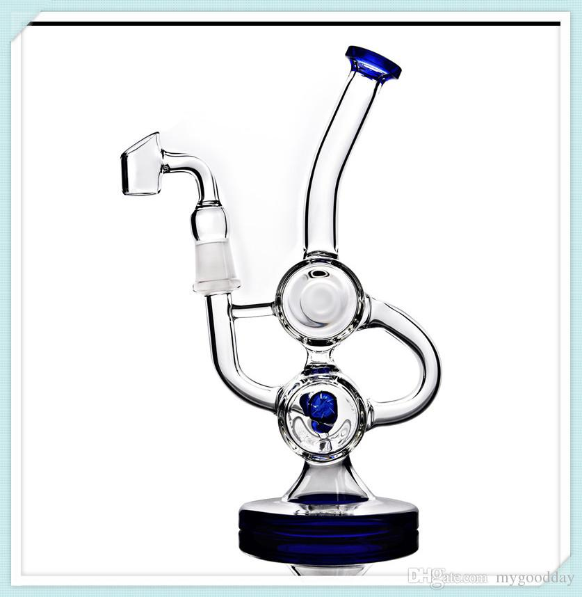 Blue Recycler Dab Rig Oil Burner Glass Bong Small Double Chamber Bubbler Pipe with 14.4mm Banger