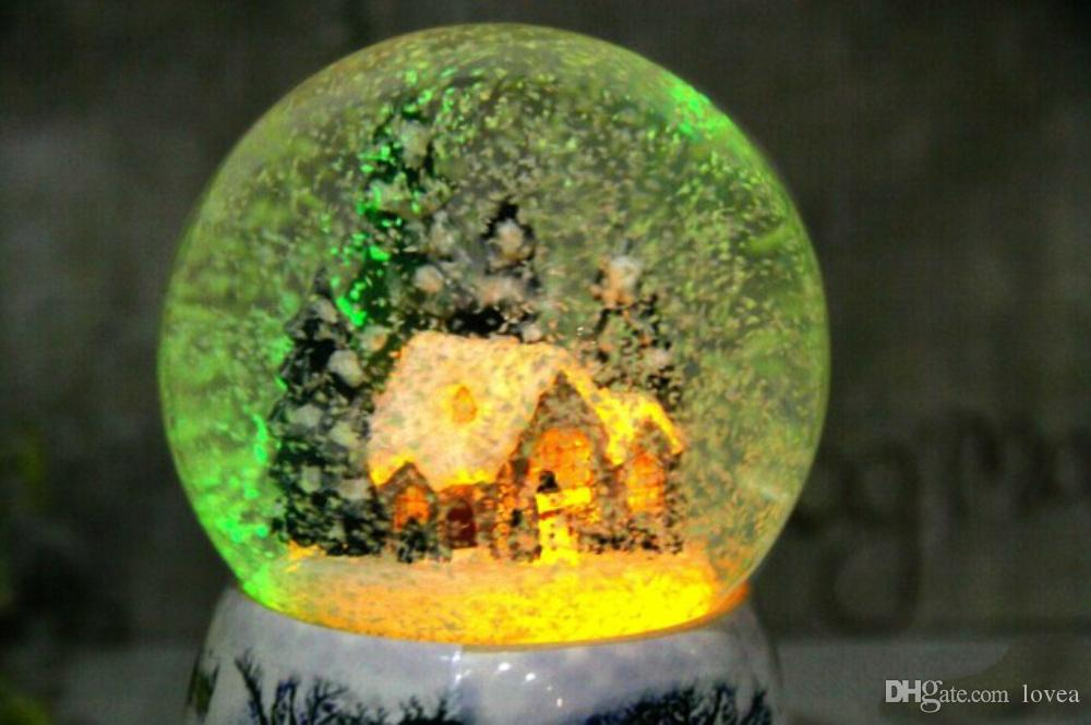 Christmas Snow Globe Snow House Crystal Ball Rotate Crystal Ball Music Box Snow House Rotating Outside Colorful Light Music Box, Play Tune