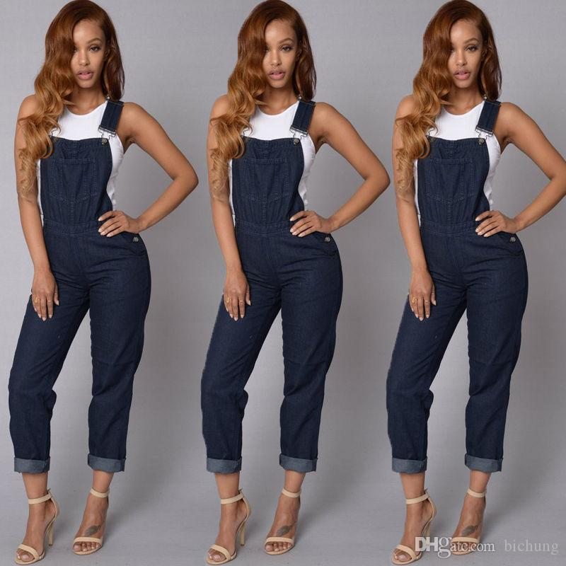 2018 New Casual Women Fashion Denim Jeans BIB Pants Overalls Straps Jumpsuit  Rompers Trousers Online with  55.09 Piece on Bichung s Store  c7e565386