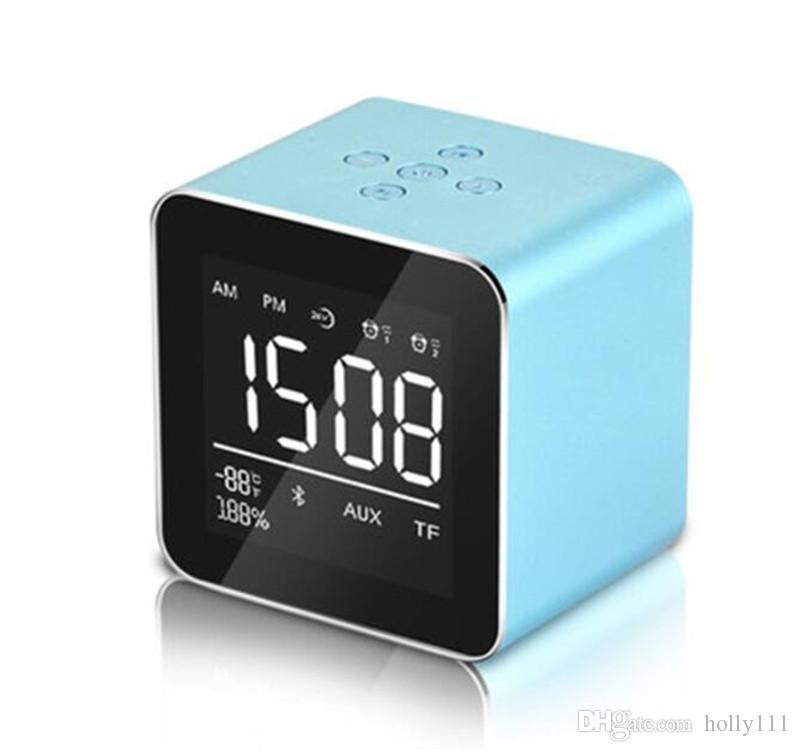 High quality Mini Desktop Bluetooth Speaker Portable Wireless with Alarm Clock LED Display Support TF Card for Phone DHL