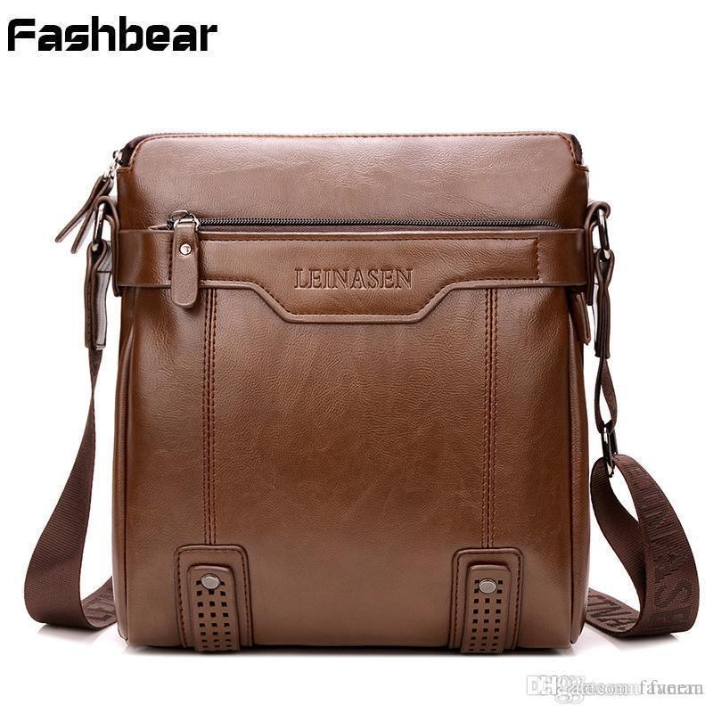 7fba04cfbc8 Men s Leather Briefcases Waterproof Anti Wrinkle Zipper Brown Men ...
