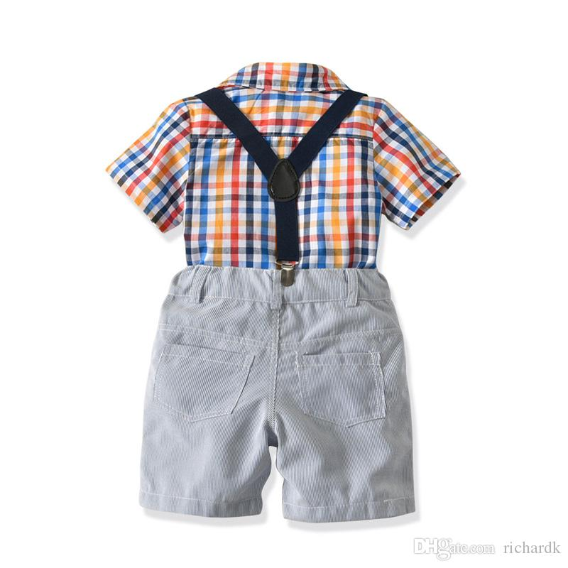 Kids Clothes Baby Summer Clothing Toddler Boy Clothes Set Bow Tie Gentleman Short Sleeve Plaid Shirt+Strap Shorts