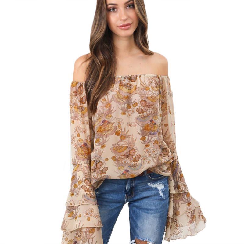 a8de0b34b07bb 2019 2018 Fashion Off Shoulder Women Blouse Fashion Loose Long Petal Sleeve Floral  Print Shirt Top Boho Holiday Autumn Female Clothes From Cactuse