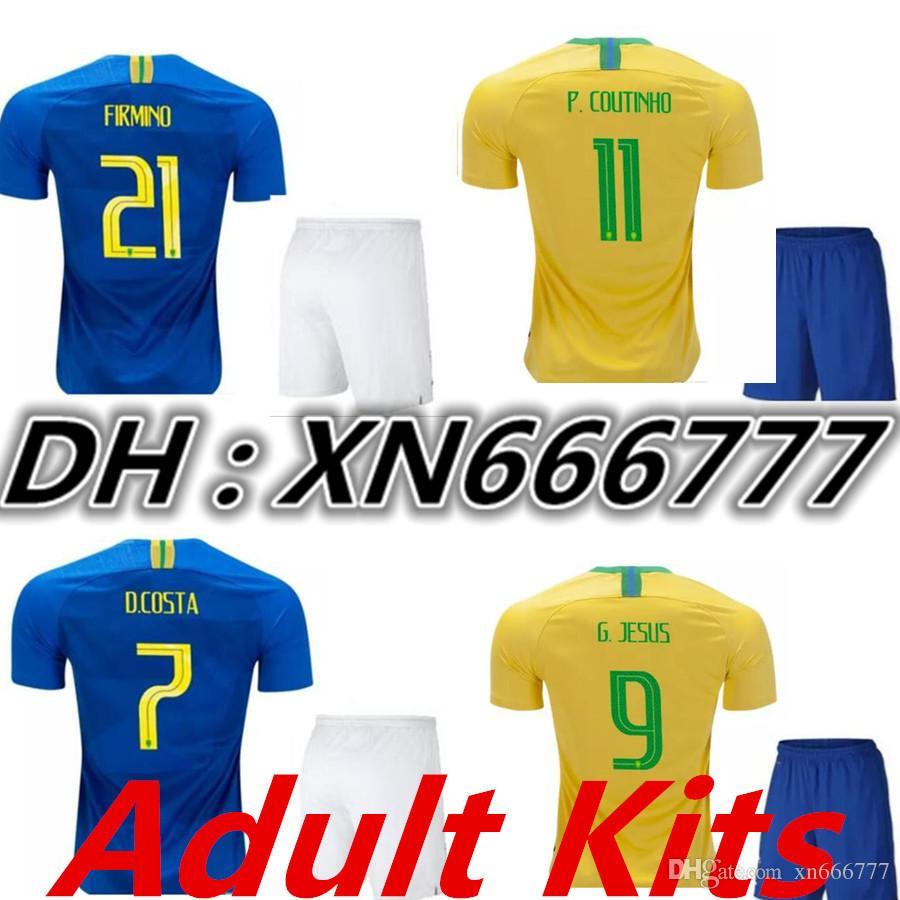 e613ceda162 World Cup 2018 Adult Kits Jersey Home Away Soccer Jerseys G.JESUS ...