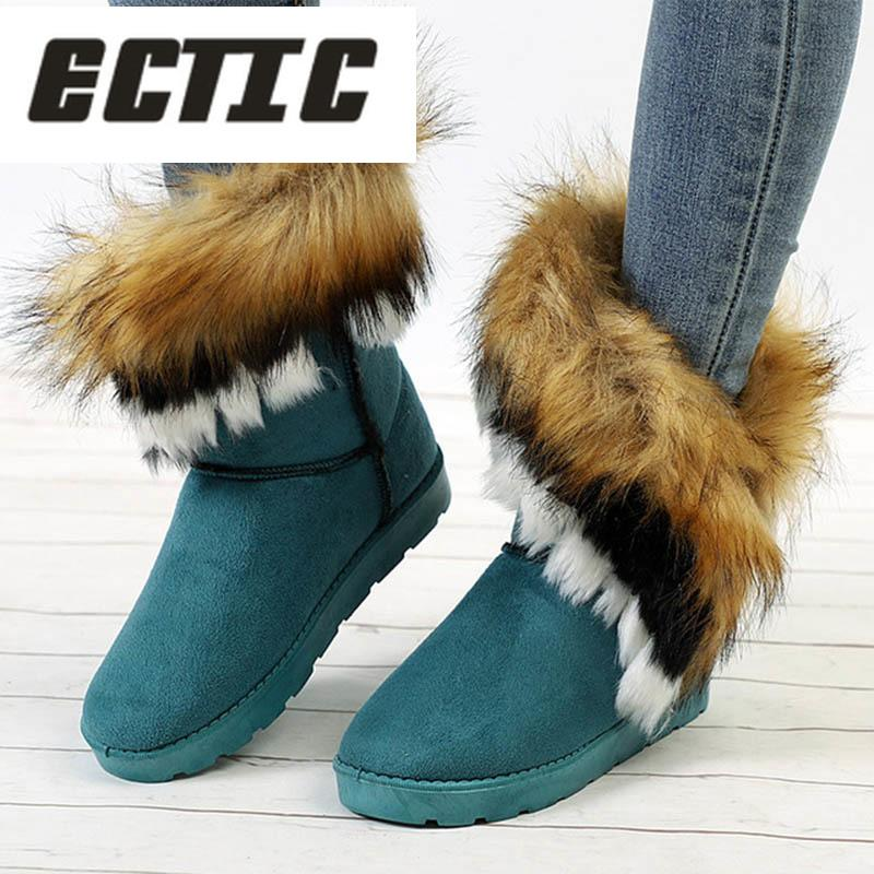 ECTIC Ladies Faux Fur Warm Flat Shoes Tassels Edging Footwear Suede Women  Snow Boots Sewing Slip On Mid Calf Winter Boots AD 42 Low Boots Cheap Shoes  Online ... 86d73df95e