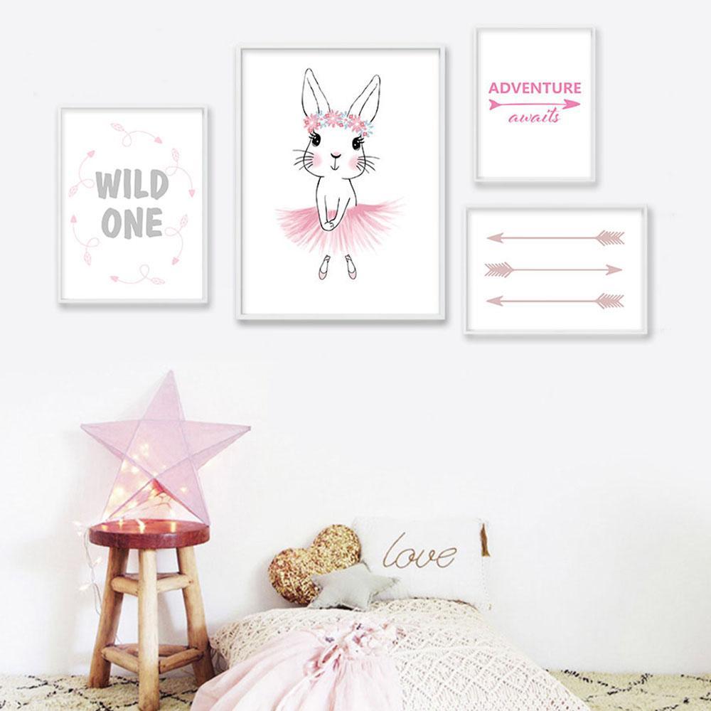 Satın Al Bebek Kız Kreş Duvar Sanat Tuval Boyama Pembe Tavşan Ok