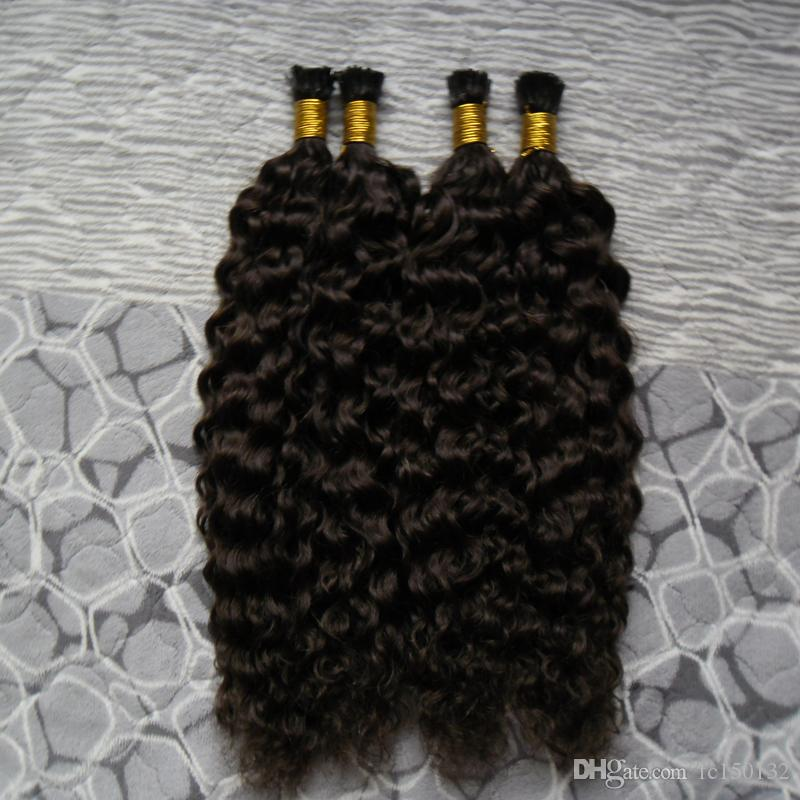 Brésiliens crépus bouclés vierges brésiliens non transformés I Extension de cheveux de bouts 200g / brins Extensions de cheveux humains préencollés # 2 Brun foncé