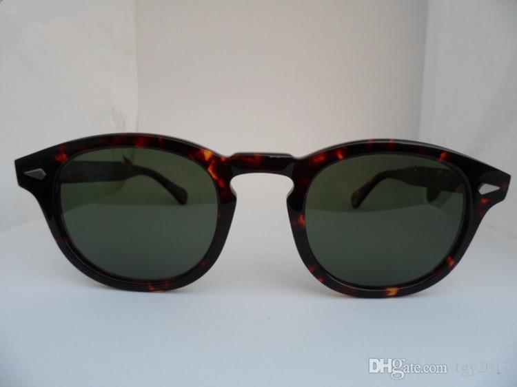 Gafas de sol polarizadas HD de estilo estrella de gran calidad L M S Johny Depp Gafas de tabla pura importadas en Italia Estuches de tamaño completo Precio de salida OEM