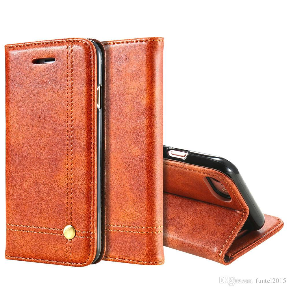 brand new 9188e 22c91 Phone Cases For iPhone 6 6s 7 7 Plus Luxury Men Flip Leather Brown Wallet  Mobile Cover Case For iPhone 7 6s 6 Capinhas