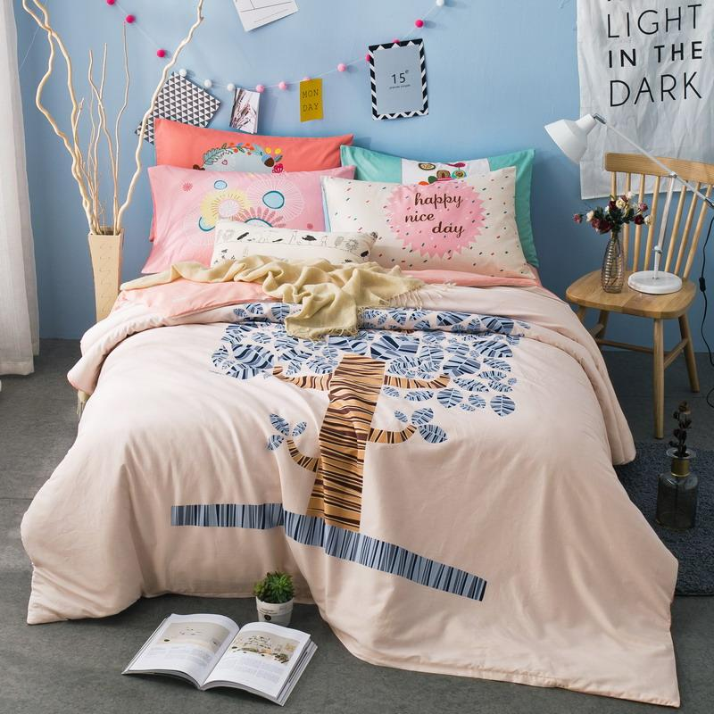 Funda Nordica One Piece.New Pastoral Style Cotton Bedding Set Populus Euphratica Pattern Kids Bed Linens Duvet Cover Set 4pcs Family Funda Nordica