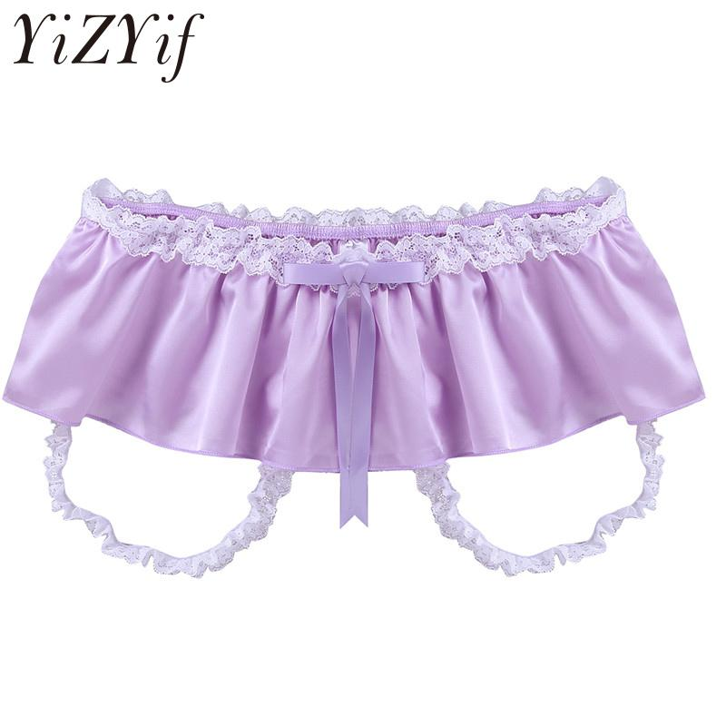 49371aa058304 2019 YiZYiF Men Lingerie Soft Satin Lace Ruffle Skirted Bikini Brief  Underwear Sissy Crotchless Underpant Sexy Gay Jockstraps Panties From  Chengdaphone03
