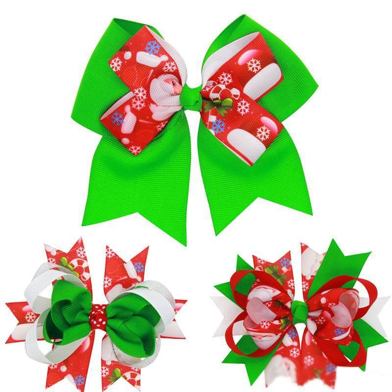 Christmas Hair Clips.Baby Bow Hair Clips Christmas Grosgrain Ribbon Bows Christmas Design Hair Flowers Children Headwear Baby Hair Accessories