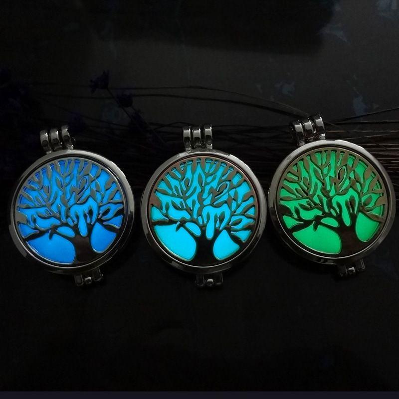 Life의 빛나는 나무 인감 렌즈 아로마 테라피 로켓 에센셜 오일 디퓨저 플로팅 중공 로켓 펜던트 목걸이 향수 상자없이