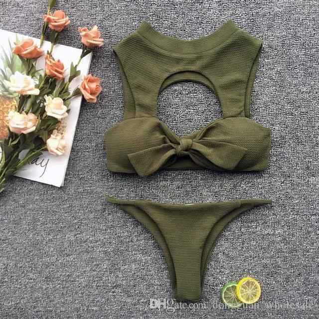 704c580e1d3e 2019 nuevo cuello alto ahueca hacia fuera conjunto de bikini mujer tanque  dos piezas empuja hacia arriba traje de baño chica sexy brasileña tanga ...
