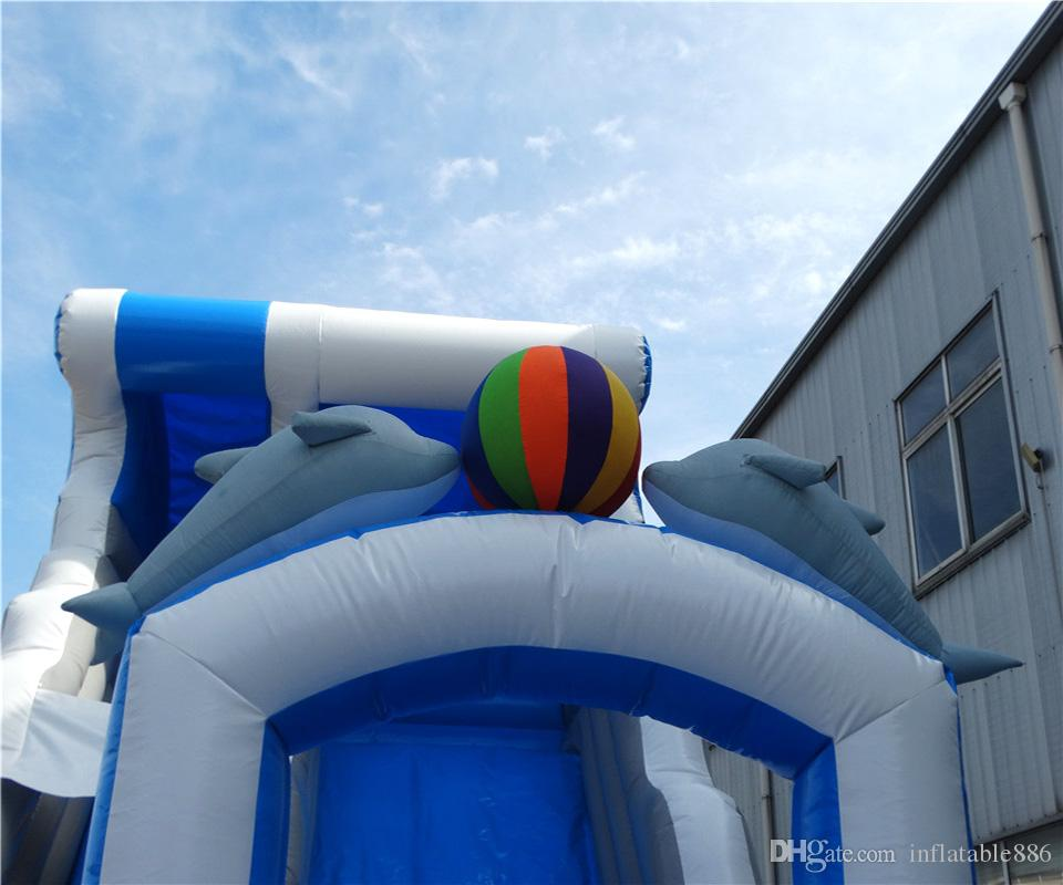 Aufblasbare Wasserrutsche Kinder Doppeldelfinrutsche mit Gebläse frei für Verkauf