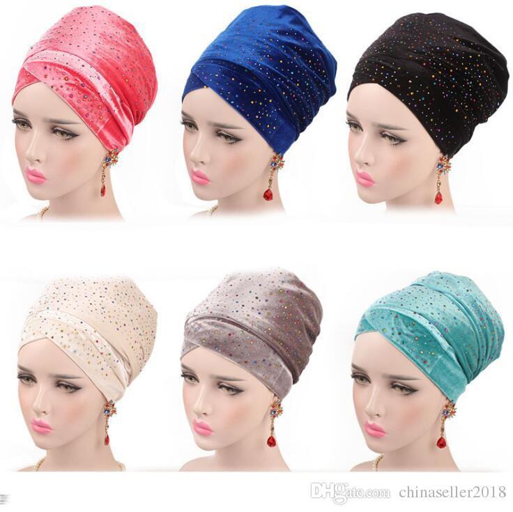 Women Headband Muslim Turban 2018 New Starry Velvet Bandanas African Head  Covers Long Scarf 170x26cm Winter Hats Beanie Hats From Chinaseller2018 0f04adc4ce6