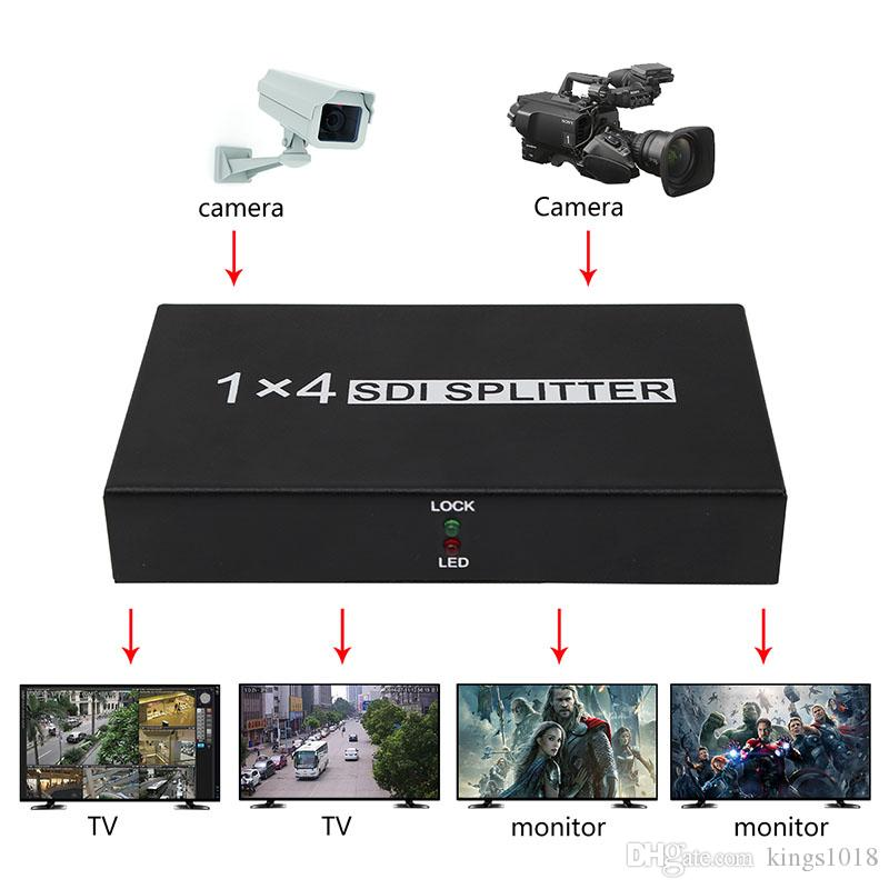 4-port SDI Splitter amplifier SDI Splitter 1X4 distributor with power adapter for Projector Monitor DVR